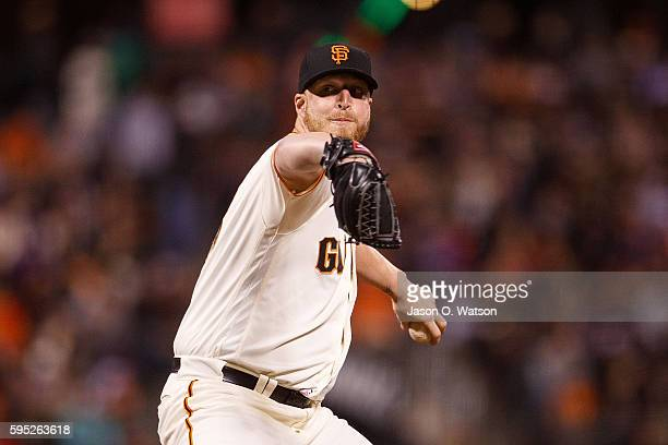 Will Smith of the San Francisco Giants pitches against the New York Mets during the sixth inning at ATT Park on August 18 2016 in San Francisco...