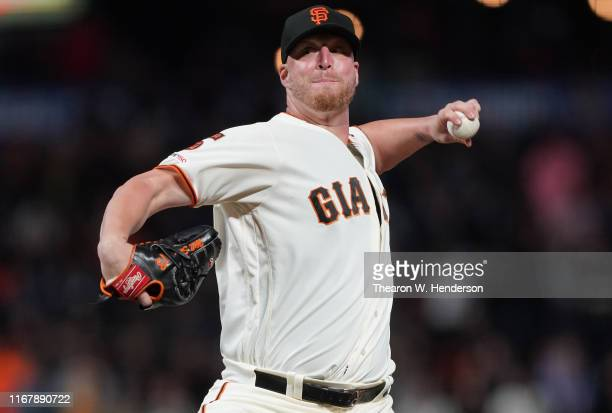 Will Smith of the San Francisco Giants pitches against the Philadelphia Phillies in the top of the ninth inning at Oracle Park on August 08 2019 in...