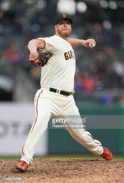 Will Smith of the San Francisco Giants pitches against the Toronto Blue Jays in the top of the ninth inning at Oracle Park on May 15 2019 in San...