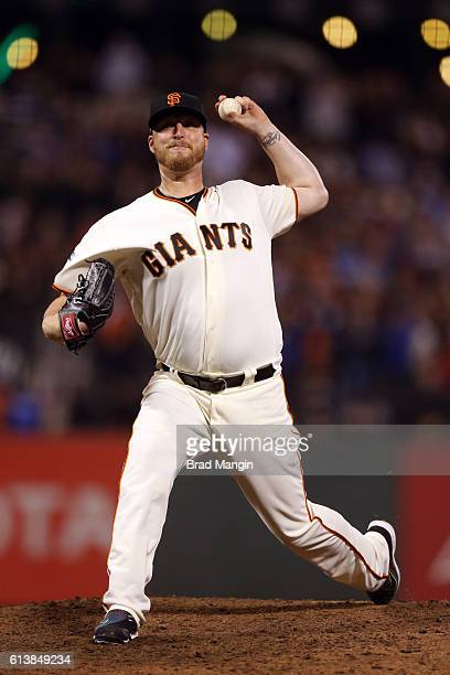 Will Smith of the San Francisco Giants pitches during Game 3 of NLDS against the Chicago Cubs at ATT Park on Monday October 10 2016 in San Francisco...