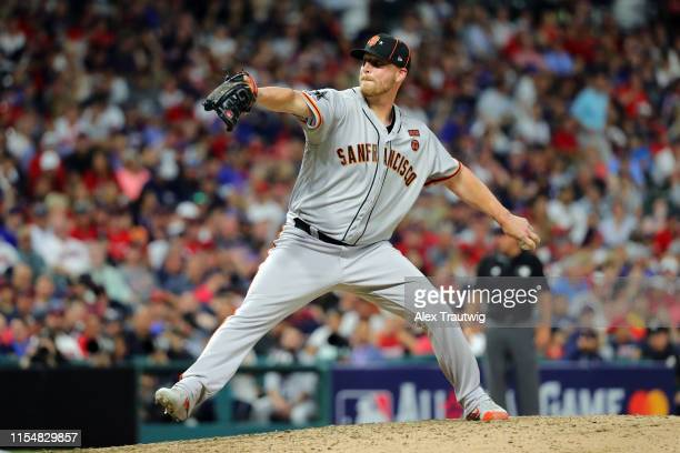 Will Smith of the San Francisco Giants pitches during the 90th MLB AllStar Game at Progressive Field on Tuesday July 9 2019 in Cleveland Ohio