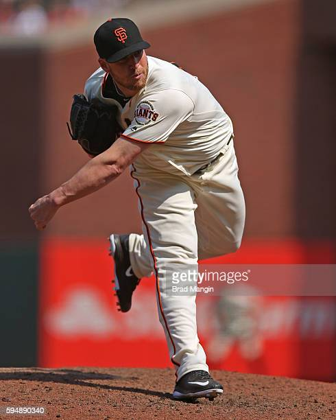 Will Smith of the San Francisco Giants pitches during the game against the New York Mets at ATT Park on Saturday August 20 2016 in San Francisco...
