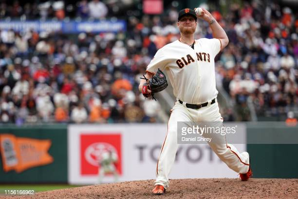 Will Smith of the San Francisco Giants pitches during the ninth inning against the Milwaukee Brewers at Oracle Park on June 15 2019 in San Francisco...