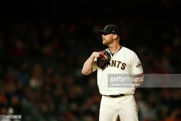 Will Smith of the San Francisco Giants pitches in the in the top of the ninth inning against the Colorado Rockies at Oracle Park on April 11 2019 in...