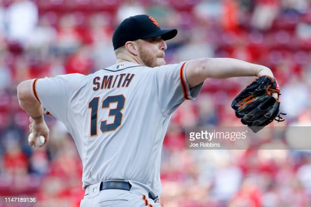 Will Smith of the San Francisco Giants pitches in the ninth inning against the Cincinnati Reds at Great American Ball Park on May 5 2019 in...