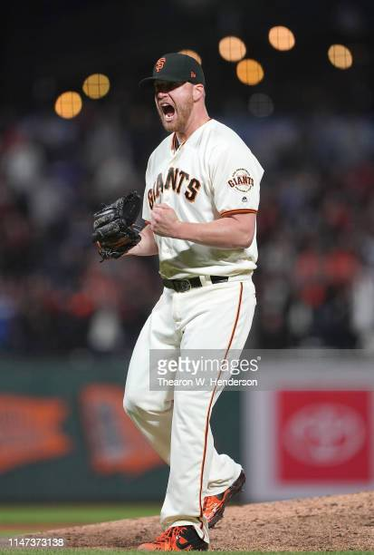 Will Smith of the San Francisco Giants reacts after striking out Joc Pederson of the Los Angeles Dodgers for the final out of the game at Oracle Park...