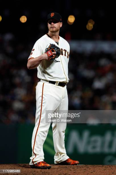 Will Smith of the San Francisco Giants stands on the pitchers mound against the Oakland Athletics during the ninth inning at Oracle Park on August 13...