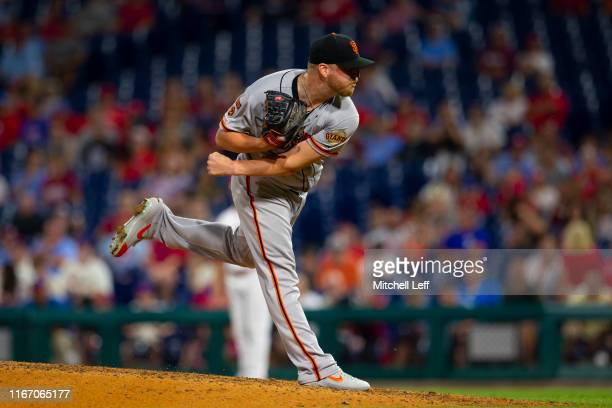 Will Smith of the San Francisco Giants throws a pitch against the Philadelphia Phillies at Citizens Bank Park on July 31 2019 in Philadelphia...