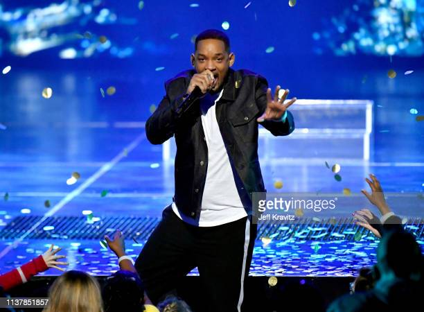 Will Smith performs onstage at Nickelodeon's 2019 Kids' Choice Awards at Galen Center on March 23 2019 in Los Angeles California