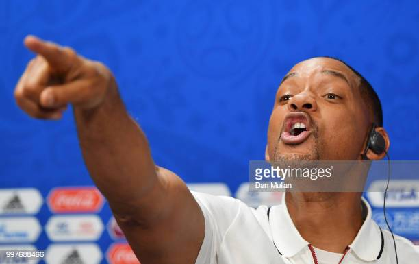 Will Smith reacts at a closing ceremony press conference during the 2018 FIFA World Cup at Luzhniki Stadium on July 13 2018 in Moscow Russia