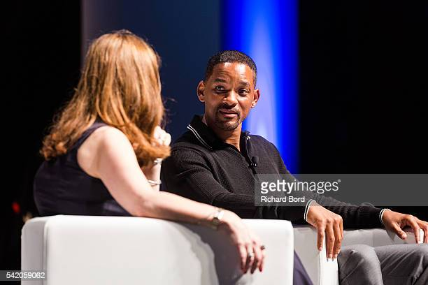 Will Smith speaks to Jackie Cooper Edelman's Global Chair during 'The Pursuit of Impact' seminar hosted by Edelman during The Cannes Lions Festival...