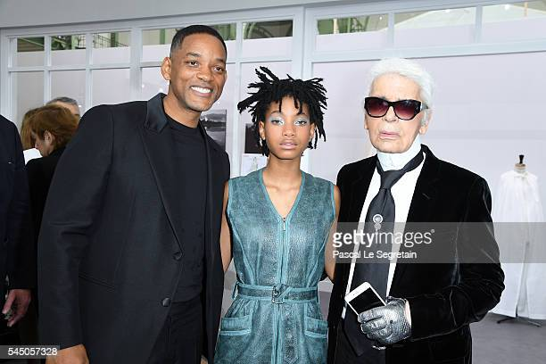 Will SmithWillow Smith and Karl Lagerfeld attend the Chanel Haute Couture Fall/Winter 20162017 show as part of Paris Fashion Week on July 5 2016 in...