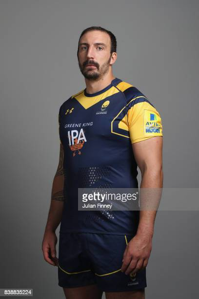 Will Spencer of Worcester poses for a portrait during the Worcester Warriors Photocall for the 20172018 Aviva Premiership Rugby season at Sixways...