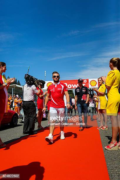 Will Stevens driving for the Manor Marussia F1 Team at the drivers parade during the 2015 Formula 1 Shell Belgian Grand Prix at Circuit de...