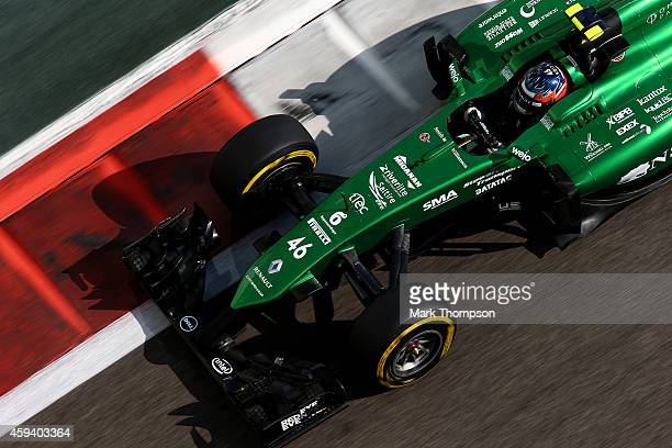 Will Stevens of Great Britain and Caterham drives during final practice ahead of the Abu Dhabi Formula One Grand Prix at Yas Marina Circuit on...