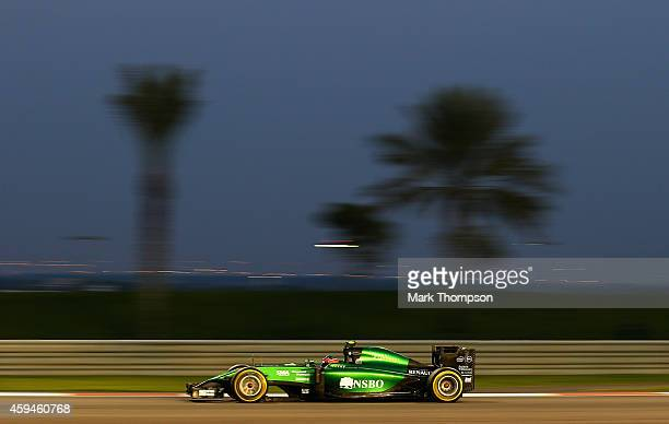 Will Stevens of Great Britain and Caterham drives during the Abu Dhabi Formula One Grand Prix at Yas Marina Circuit on November 23, 2014 in Abu...