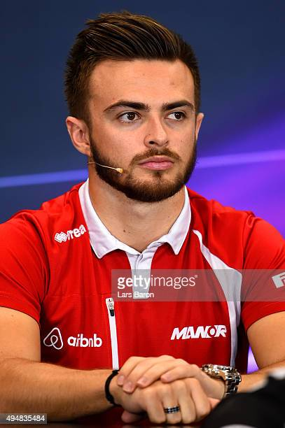 Will Stevens of Great Britain and Manor Marussia looks on at a press conference during previews to the Formula One Grand Prix of Mexico at Autodromo...