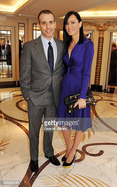 Will Stoppard and Linzi Stoppard arrive at the 2013 South Bank Sky Arts Awards at The Dorchester on March 12 2013 in London England
