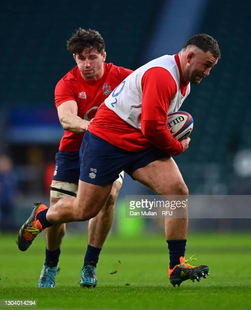 Will Stuart of England takes on Tom Curry of England during a training session at Twickenham Stadium on February 20, 2021 in London, England.