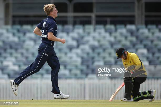 Will Sutherland of Victoria celebrates the wicket of Josh Philippe of Western Australia during the Marsh One Day Cup match between Western Australia...