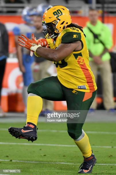 Will Sutton III of the Arizona Hotshots celebrates during the Alliance of American Football game against the Salt Lake Stallions at Sun Devil Stadium...