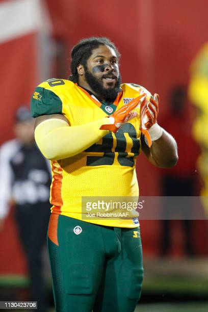 Will Sutton III of the Arizona Hotshots looks on during an Alliance of American Football game against the Memphis Express at Liberty Bowl Memorial...