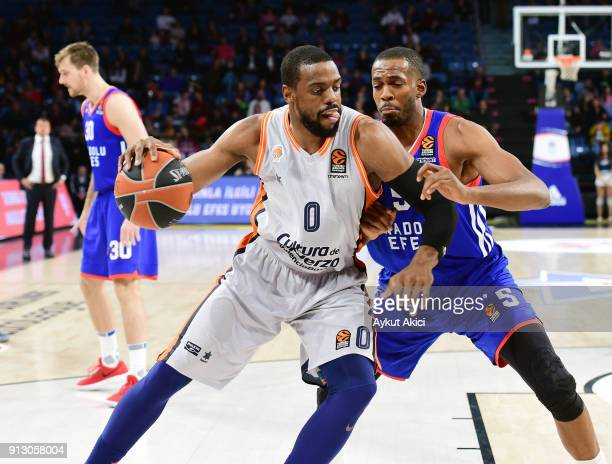 Will Thomas #0 of Valencia Basket competes with Derrick Brown #5 of Anadolu Efes Istanbul during the 2017/2018 Turkish Airlines EuroLeague Regular...