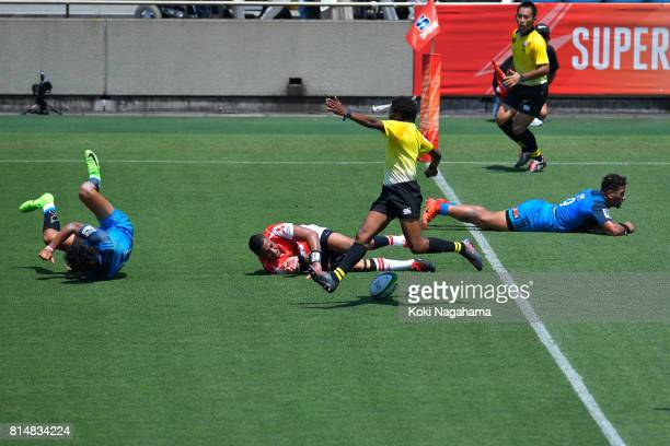 Will Tupou of Sunwolves is tackled during the Super Rugby match between the Sunwolves and the Blues at Prince Chichibu Stadium on July 15 2017 in...