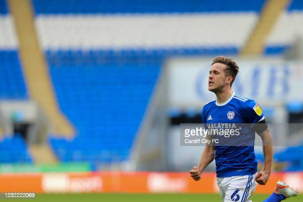 Will Vaulks celebrates scoring the first goal for Cardiff City FC during the Sky Bet Championship match between Cardiff City and Blackburn Rovers at...