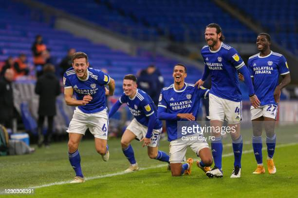 Will Vaulks celebrates the first goal for Cardiff City FC during the Sky Bet Championship match between Cardiff City and Brentford at Cardiff City...