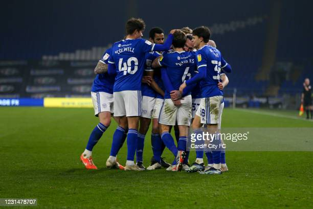 Will Vaulks celebrates the fourth goal for Cardiff City FC during the Sky Bet Championship match between Cardiff City and Derby County at Cardiff...