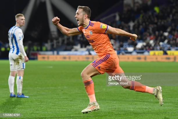 Will Vaulks of Cardiff City celebrates after scoring his sides second goal during the Sky Bet Championship match between Huddersfield Town and...