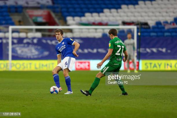 Will Vaulks of Cardiff City FC and Jacob Holland-Wilkinson of Preston North End during the Sky Bet Championship match between Cardiff City and...