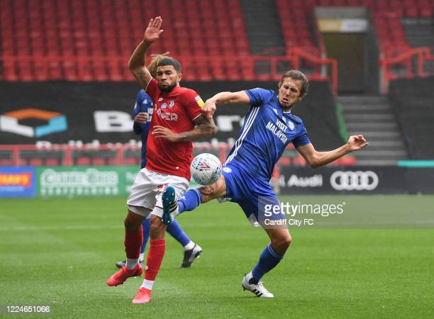 Will Vaulks of Cardiff City FC in action against Nahki Wells of Bristol City during the Sky Bet Championship match between Bristol City and Cardiff...