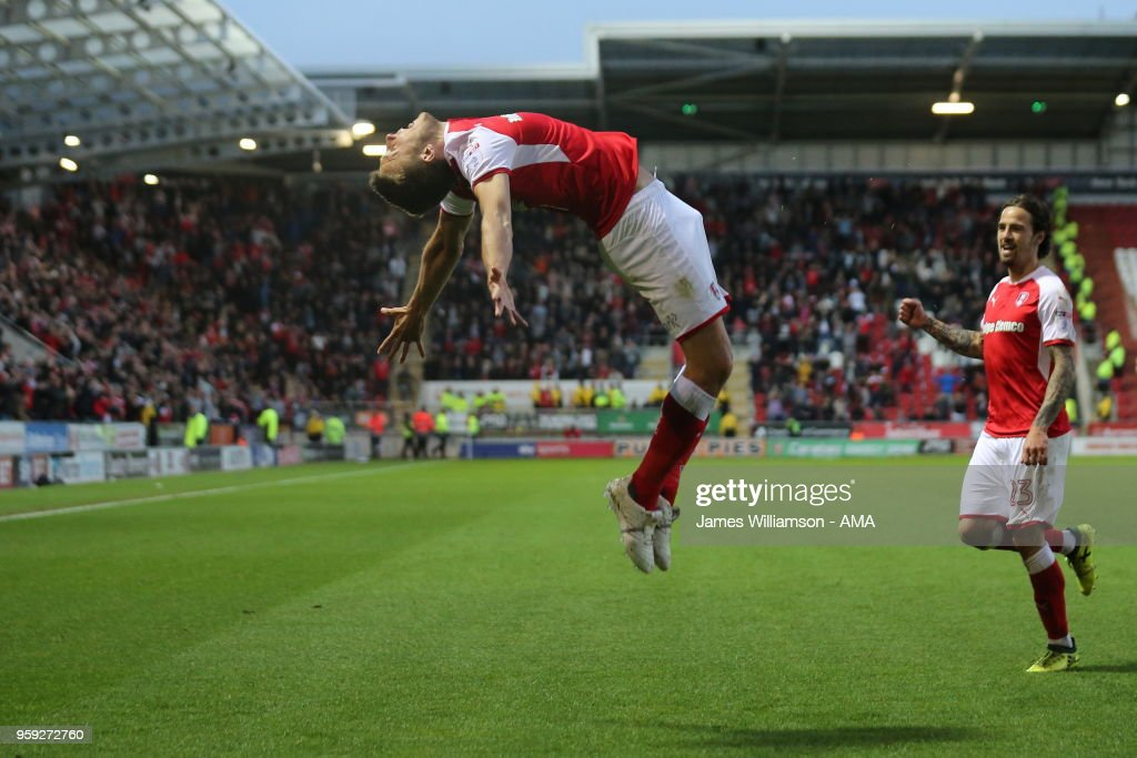 Will Vaulks of Rotherham United celebrates after scoring a goal to make it 2-0 during the Sky Bet League One Play Off Semi Final:Second Leg between Rotherham United and Scunthorpe United at The New York Stadium on May 16, 2018 in Rotherham, England.