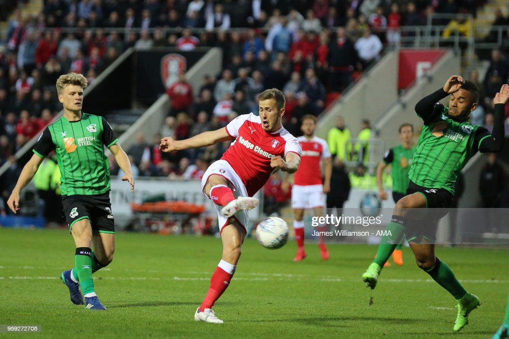 Will Vaulks of Rotherham United scores a goal to make it 2-0 during the Sky Bet League One Play Off Semi Final:Second Leg between Rotherham United and Scunthorpe United at The New York Stadium on May 16, 2018 in Rotherham, England.