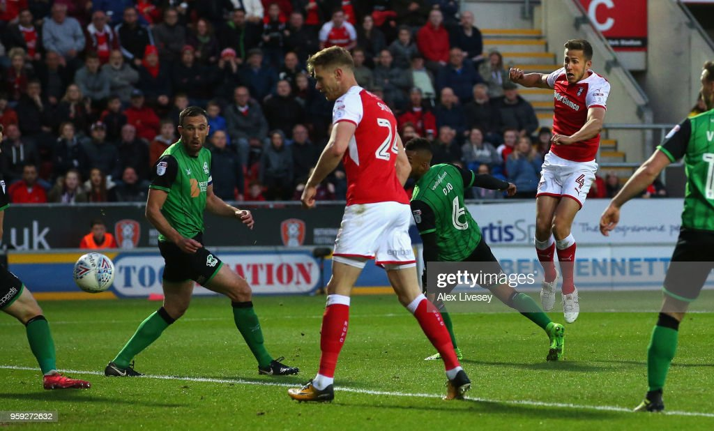 Will Vaulks of Rotherham United scores their second goal during the Sky Bet League One Play Off Semi Final second leg match between Rotherham United and Scunthorpe United at The New York Stadium on May 16, 2018 in Rotherham, England.