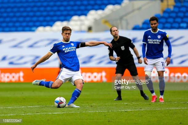 Will Vaulks scores the first goal for Cardiff City FC during the Sky Bet Championship match between Cardiff City and Blackburn Rovers at Cardiff City...