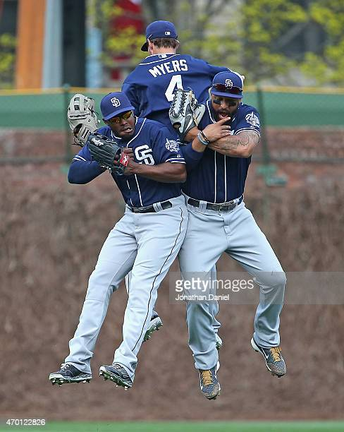 Will Venable Wil Myers and Matt Kemp of the San Diego Padres celebrate a win over the Chicago Cubs at Wrigley Field on April 17 2015 in Chicago...