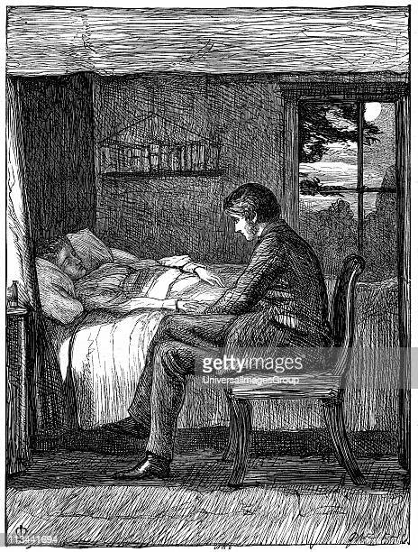 Will watching and listening at his friend's deathbed Illustration by John Everett Millais English artist and founder member of PreRaphaelite...