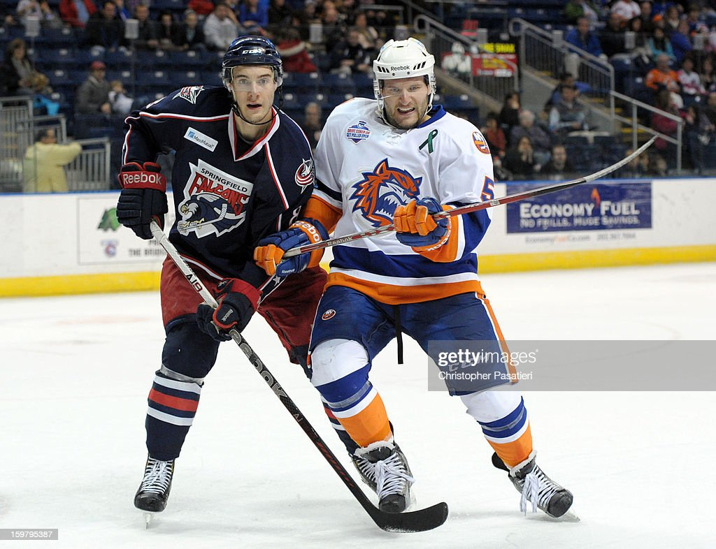 Will Weber #8 of the Springfield Falcons and Jack Combs #5 of the Bridgeport Sound Tigers battle for position during an American Hockey League game on January 20, 2013 at the Webster Bank Arena at Harbor Yard in Bridgeport, Connecticut.
