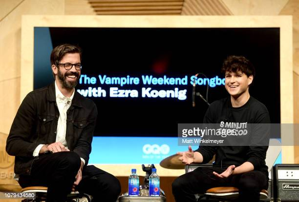 Will Welch and Ezra Koenig speak onstage at GQ Live – The Vampire Weekend Songbook With Ezra Koenig at NeueHouse Los Angeles on December 08 2018 in...