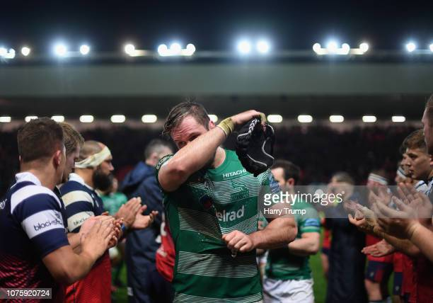 Will Welch of Newcastle Falcons reacts after his sides defeat during the Gallagher Premiership Rugby match between Bristol Bears and Newcastle...