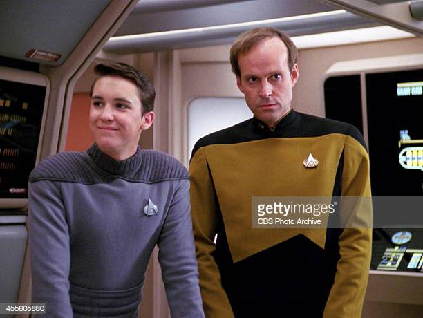 Will Wheaton as Wesley Crusher and Dwight Schultz as Lt Reg Barkley in the STAR TREK THE NEXT GENERATION episode Hollow Pursuits Original air date...