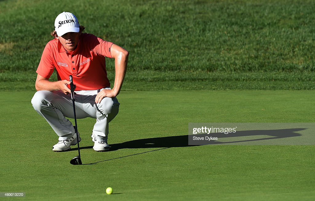 Will Willcox lines up a putt on the 17th green during the second round of the Frys.com Open on October 16, 2015 at the North Course of the Silverado Resort and Spa in Napa, California.