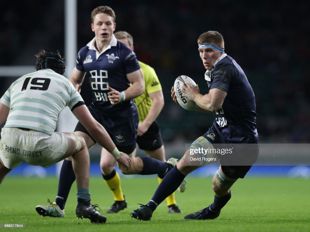 Will Wilson of Oxford breaks with the ball during the Varsity match between Oxford University and Cambridge University at Twickenham Stadium on December 7, 2017 in London, England.