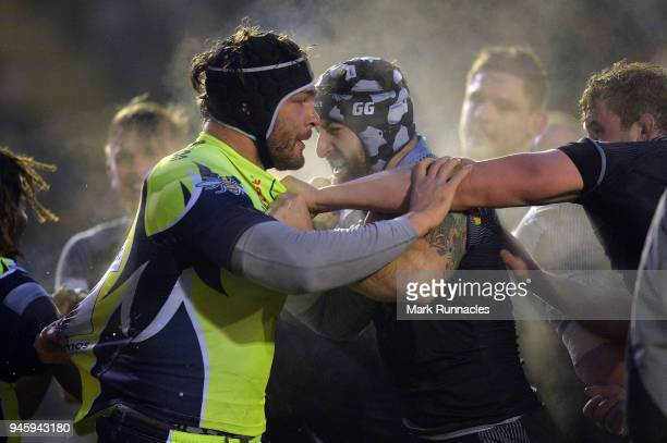 Will Witty of Newcastle Falcons has a disagreement with Andrei Ostrikv of Sale Sharks during the Aviva Premiership match between Newcastle Falcons...
