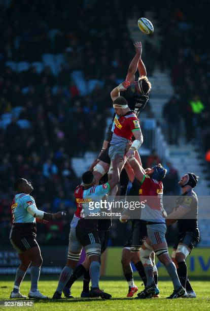 Will Witty of the Newcastle Falcons and James Chisholm of the Harlequins compete for the ball in a line out during the Aviva Premiership match...