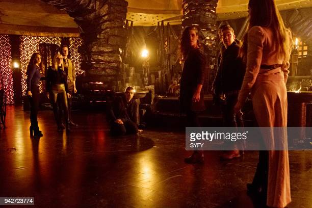 THE MAGICIANS 'Will You Play With Me' Episode 313 Pictured Summer Bishil as Margo Hanson Olivia Taylor Dudley as Alice Hale Appleman as Eliot Waugh...