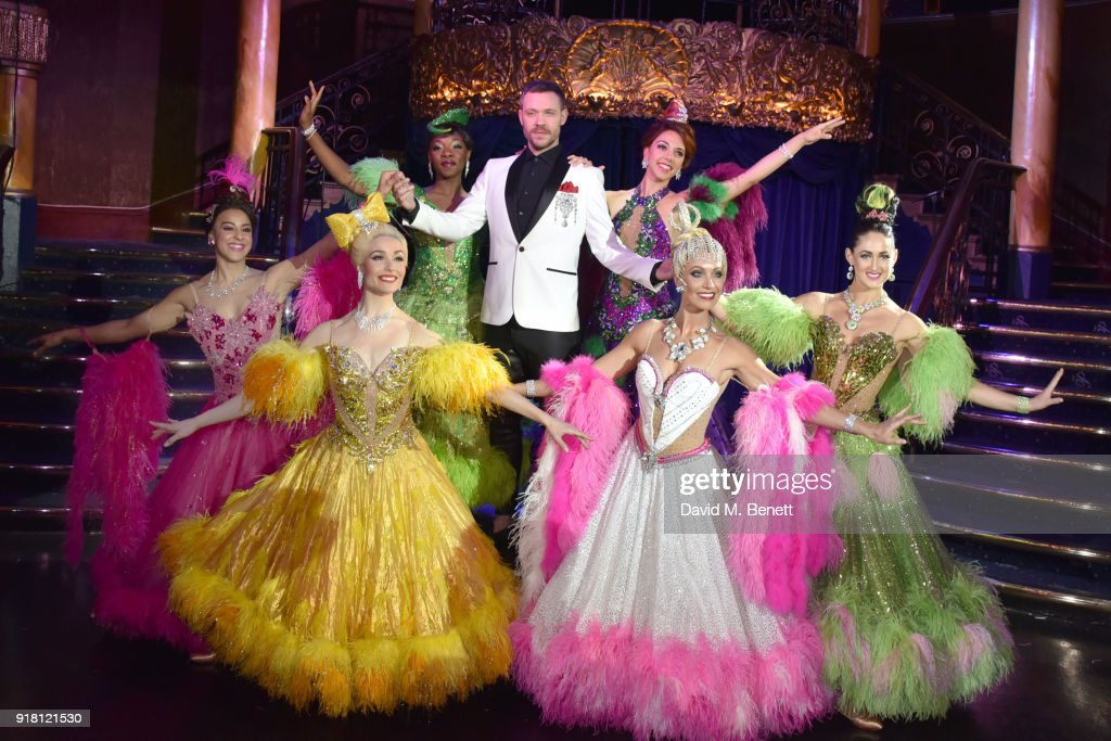 Will Young (C) and cast pose at a photocall for 'Strictly Ballroom The Musical' at Cafe de Paris on February 14, 2018 in London, England.